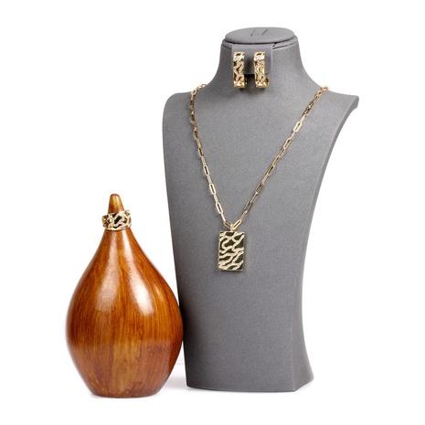 New Fashion Diamond unregelmäßige Tarnung quadratische Anhänger Halskette Set NHPY317083's discount tags