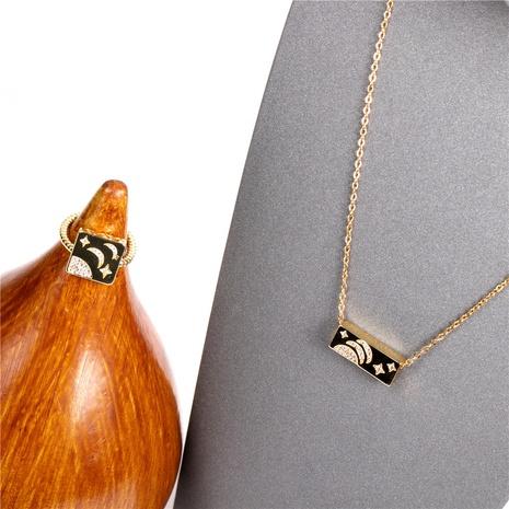 nuevo conjunto de collar de anillo abierto de luna de estrella de giro de moda NHPY317090's discount tags