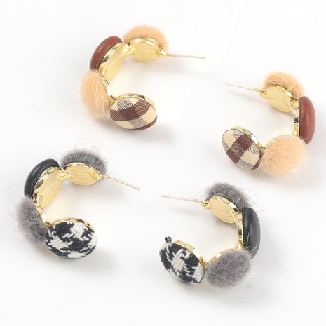 alloy artificial leather C-shaped earrings NHJE317109's discount tags