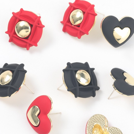 round heart-shaped alloy spray paint earrings NHJE317117's discount tags
