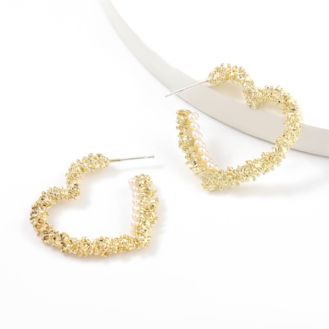 alloy inlaid pearl heart-shaped earrings NHJE317118's discount tags