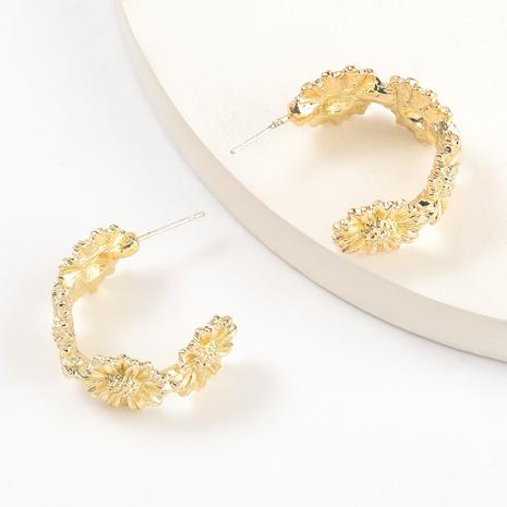 C-shaped alloy flower earrings  NHJE317123's discount tags