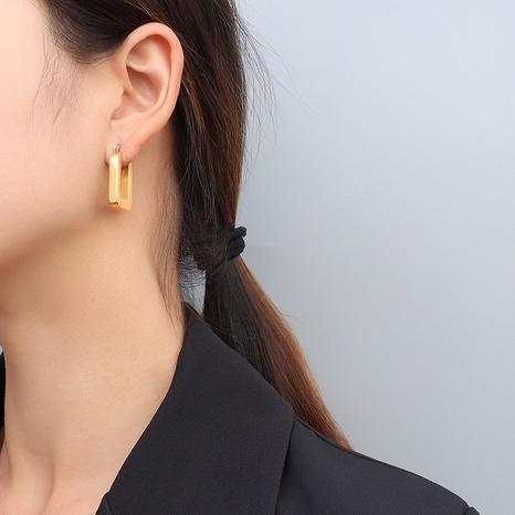 geometric buckle titanium steel earrings NHOK317137's discount tags