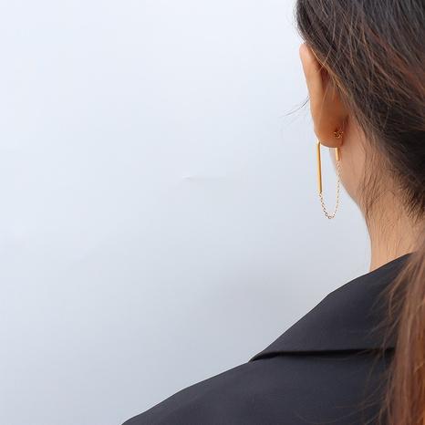 chain U-shaped titanium steel earrings NHOK317139's discount tags