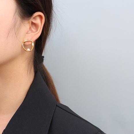 titanium steel irregular imitation pearl earrings NHOK317141's discount tags