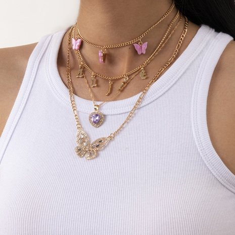 fashion simple peach heart retro diamond butterfly letter necklace NHXR317164's discount tags