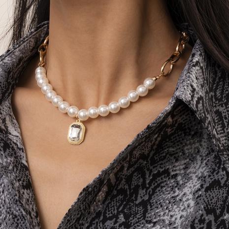 mode imitation perle rétro simple couche ronde collier de perles NHXR317176's discount tags
