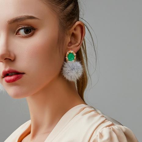 retro pearl mink fur ball earrings NHDP317222's discount tags