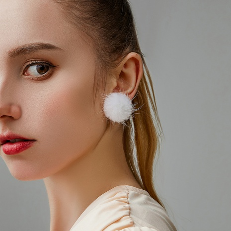 Korean fur ball earrings  NHDP317223's discount tags