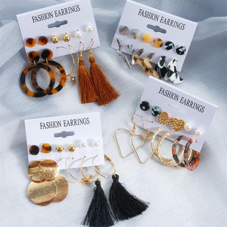 tassel amber leopard print earrings set NHDP317224's discount tags