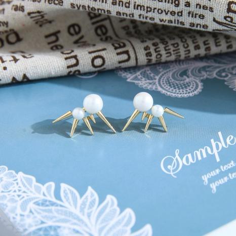 Korean fashion creative rivet pearl earrings NHQD317229's discount tags