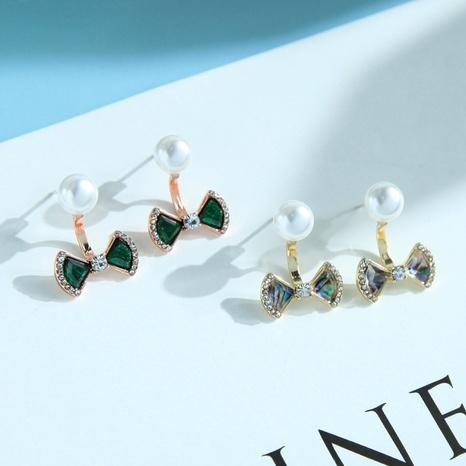 cute korean bow pearl earrings NHQD317237's discount tags