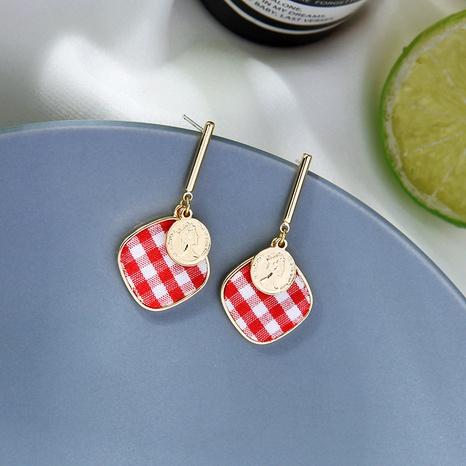 Boucles d'oreilles créatives coréennes en tissu à carreaux NHQD317242's discount tags