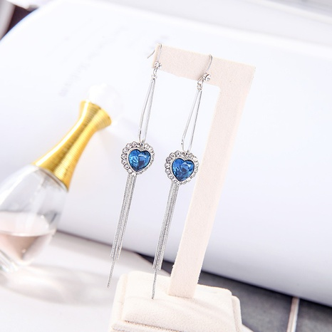 blue heart of the sea long tassel earrings  NHQD317246's discount tags
