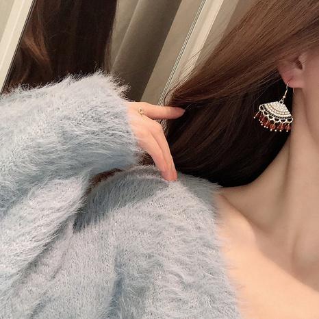 Bohemian fan-shaped tassel earrings NHQD317264's discount tags