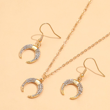 fashion moon crescent diamond tassel earrings necklace set NHPV317293's discount tags