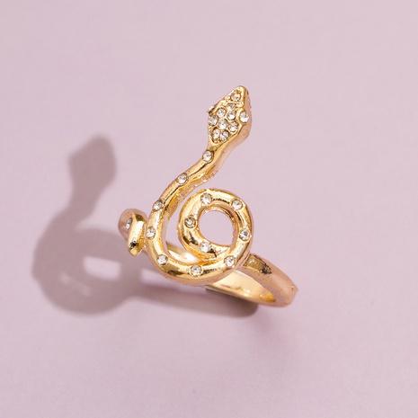 Punk snake-shaped inlaid rhinestone ring  NHPV317294's discount tags