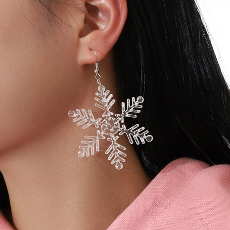 simple transparent sequins Snowflower Earrings NHPV317296's discount tags