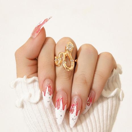 fashion diamond snake-shaped punk ring NHPV317297's discount tags