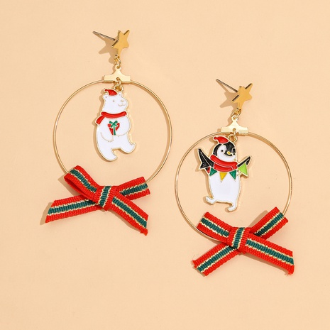 Christmas Bear Penguin Bow Pendant Earrings NHPV317316's discount tags