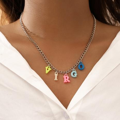 neue Mode einschichtige Buchstabenfarbe Harz Halskette NHPV317317's discount tags