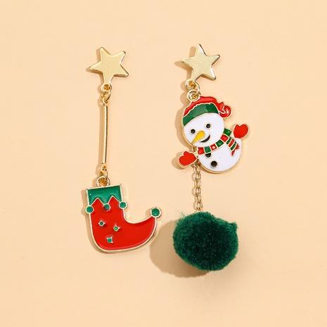 Christmas Stocking Snowman Plush Ball Earrings NHPV317319's discount tags