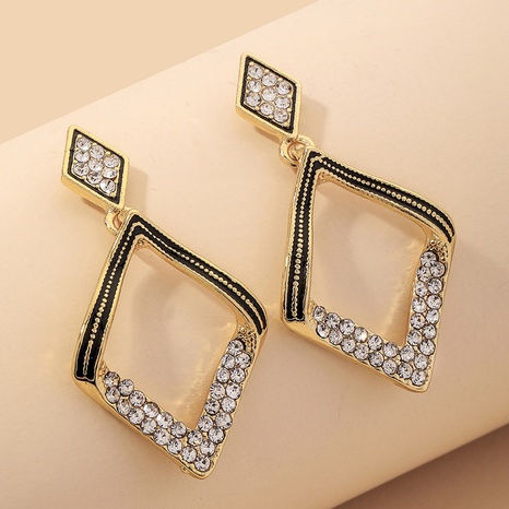 square diamond geometric earrings NHNJ317343's discount tags