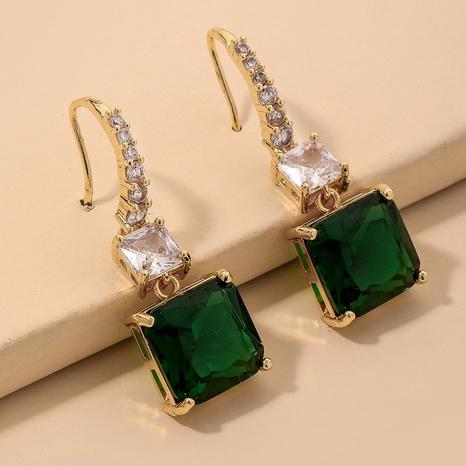 emerald square rhinestone retro earrings NHNJ317344's discount tags