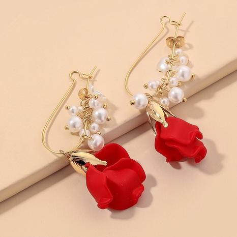 Korean fashion red rose pearl earrings NHNJ317353's discount tags