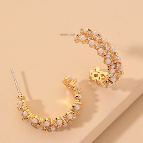 micro-inlaid C-shaped pearl earrings NHNJ317385's discount tags
