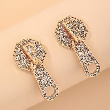 fashion diamond zipper earrings NHNJ317418's discount tags