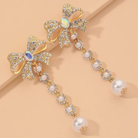 full diamond bow long tassel earrings NHNJ317440's discount tags