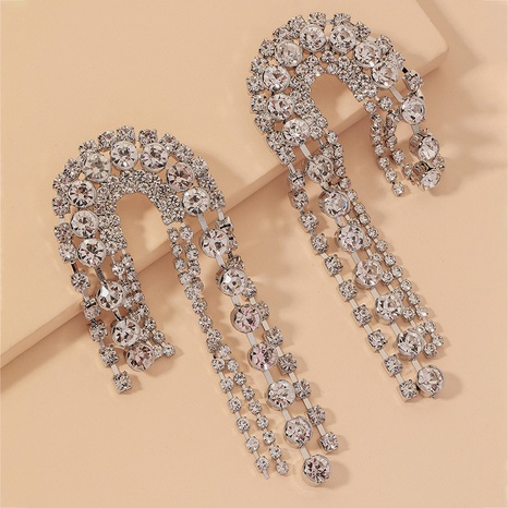 full diamond U-shaped earrings  NHNJ317465's discount tags