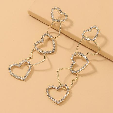 Korean diamond splicing heart earrings NHNJ317481's discount tags