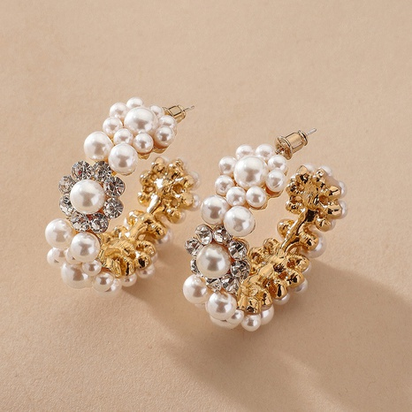 fashion C-shaped rhinestone pearl earrings  NHNJ317486's discount tags