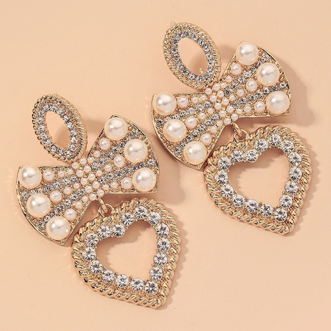 diamond-studded pearl bow heart earrings NHNJ317491's discount tags