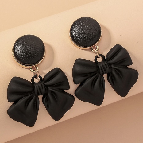 Leather Button-shaped Bow Earrings NHNJ317494's discount tags