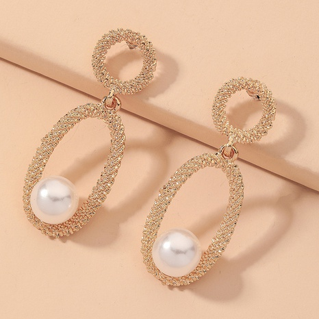 Hollow Oval Pearl Earrings  NHNJ317496's discount tags