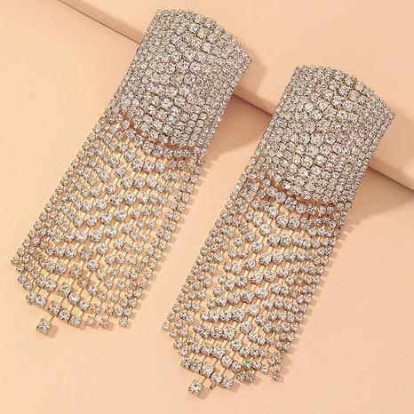 full diamond long tassel earrings  NHNJ317497's discount tags