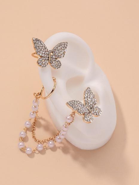 asymmetrical diamond-studded pearl butterfly earrings NHNJ317499's discount tags