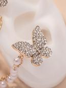 asymmetrical diamondstudded pearl butterfly earrings NHNJ317499