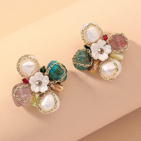 Diamond Pearl Flower Bow Earrings NHNJ317502's discount tags