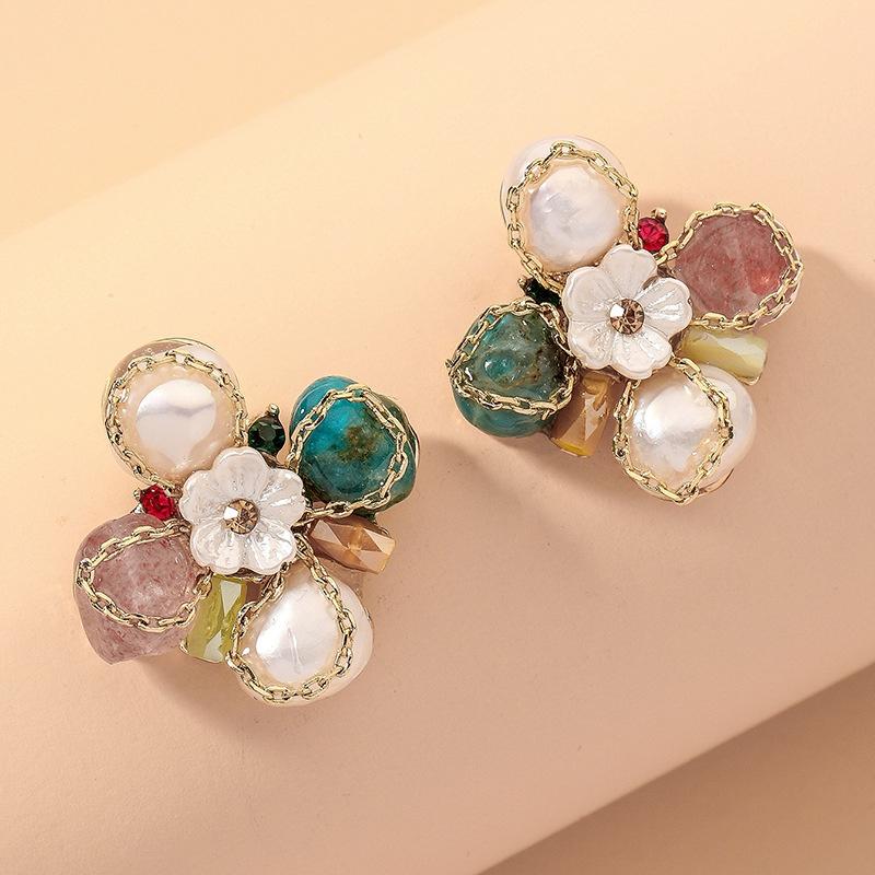 Diamond Pearl Flower Bow Earrings NHNJ317502