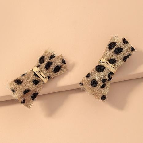plush leopard bow earrings  NHNJ317503's discount tags