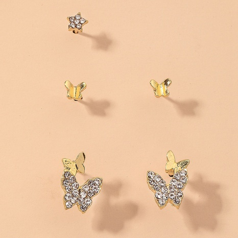 diamond butterfly five-pointed star earrings set NHNJ317505's discount tags