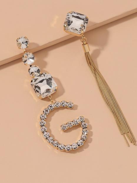 diamond asymmetric letter G long tassel earrings NHNJ317508's discount tags