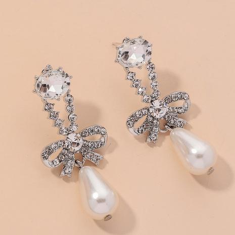 diamond-studded pearl bowknot earrings NHNJ317510's discount tags