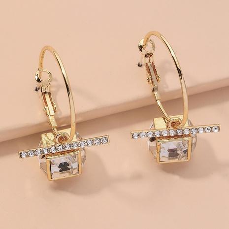 goldene quadratische Retro-Diamantohrringe NHNJ317511's discount tags