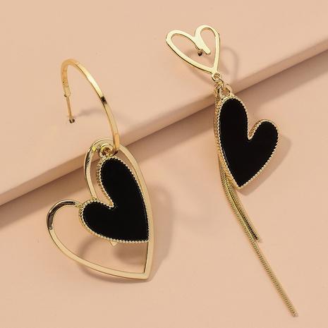 black asymmetric heart earrings  NHNJ317513's discount tags