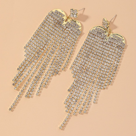 full diamond tassel retro earrings NHNJ317514's discount tags